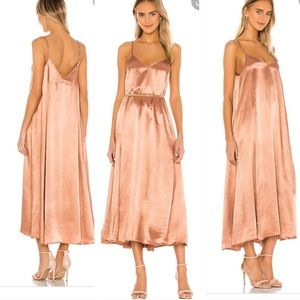 ENZA COSTA Satin Strappy Ankle Length Dress